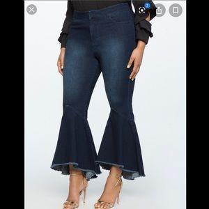 Eloquii ruffle flare jeans